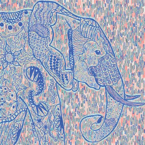 Painting - Zentangle Elephant-oil by Becky Herrera