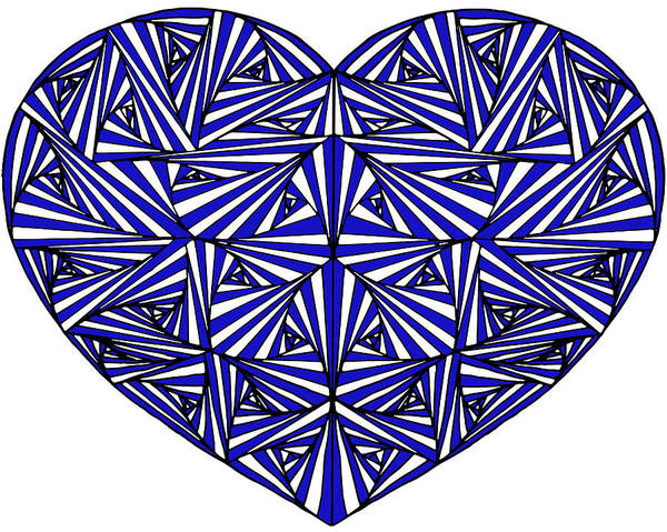 Paradox Photograph - Zentangle Hand Drawn Decorative Heart Made With Paradox Tangle, Colored With Blue. by Irina Moskalev