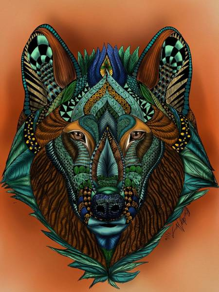 Painting - Zentangle Inspired Art- Wolf Colored by Becky Herrera