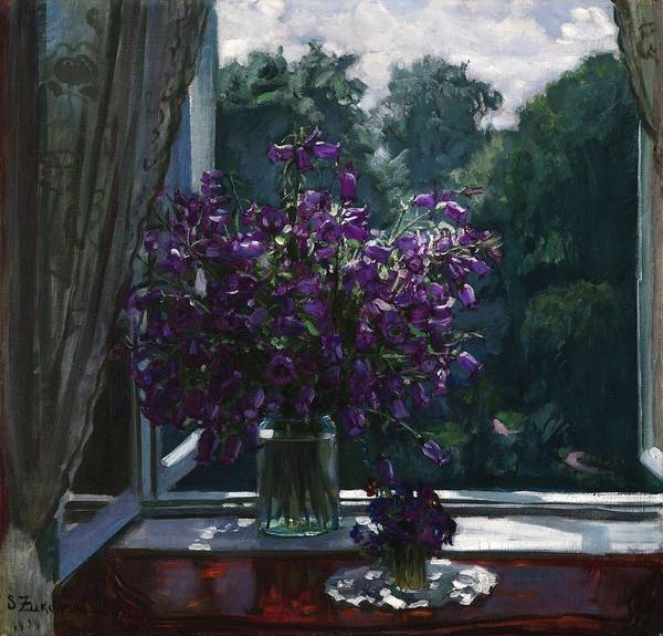 Painting - Zhukovsky  Stanislav  1875  1944 Bluebells By The Window by Artistic Panda