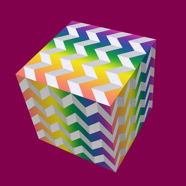 Digital Art - Zig Zag Cube by Chuck Staley