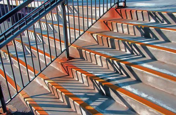 Photograph - Zig Zag Shadows On Train Station Steps by Gary Slawsky