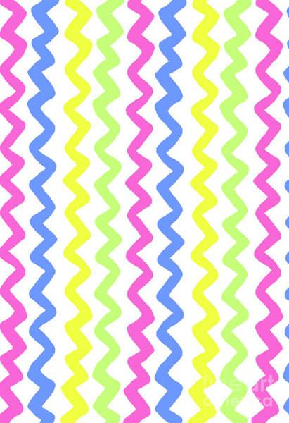Neon Blue Digital Art - Zig Zags by Louisa Knight