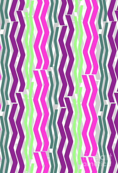 Vertical Line Digital Art - Zig Zig Stripes by Louisa Knight