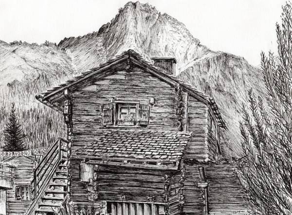 Great Britain Drawing - Zinal Switzerland by Vincent Alexander Booth