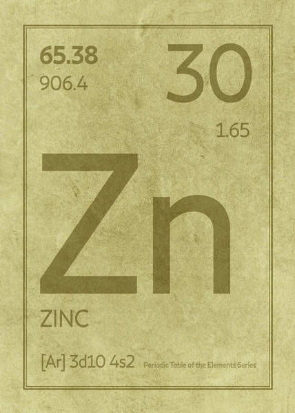 Atomic Number Wall Art - Mixed Media - Zinc Element Symbol Periodic Table Series 030 by Design Turnpike