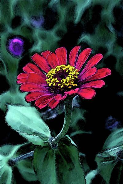 Photograph - Zinnia Digital Painting 2226 Dp_2 by Steven Ward