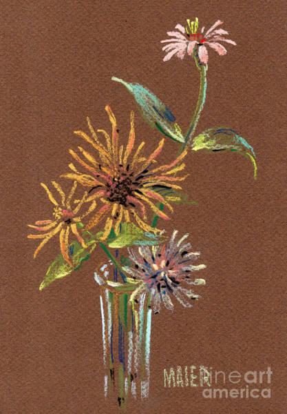 Zinnia Flower Wall Art - Drawing - Zinnias by Donald Maier