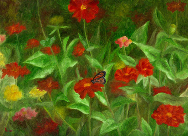 Painting - Zinnias by FT McKinstry