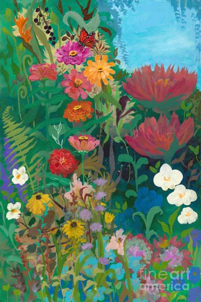 Zinnias Garden Art Print