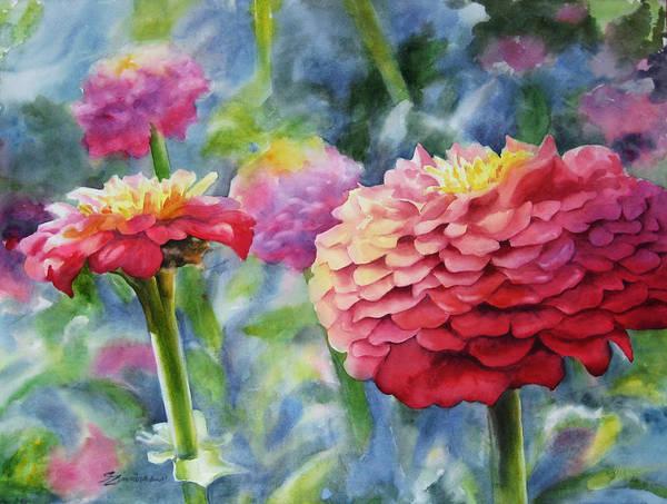 Zinnia Flower Wall Art - Painting - Zinnias by Sue Zimmermann