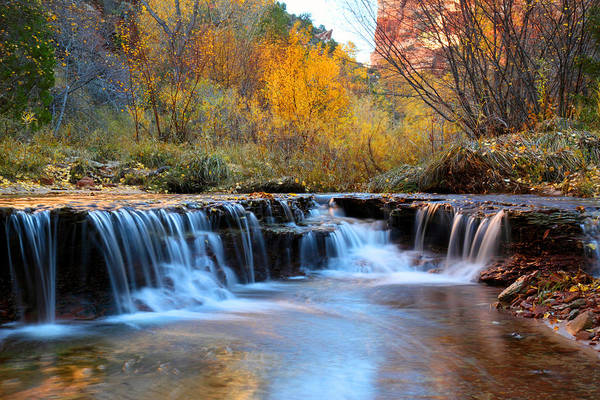 Photograph - Zion Autumn Foliage Waterfall by Pierre Leclerc Photography