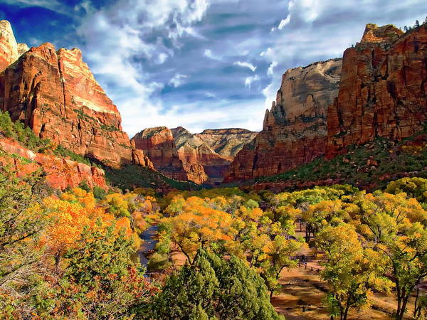 Photograph - Zion Canyon In Autumn by Anthony Dezenzio