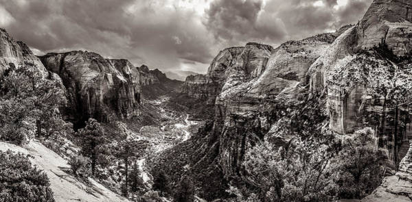 Photograph - Zion Canyon Storm Black And White by Scott McGuire