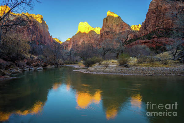 Wall Art - Photograph - Zion Court Of The Patriarchs At Sunrise by Mike Reid