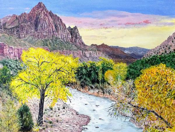 Art Print featuring the painting Zion Creek by Kevin Daly