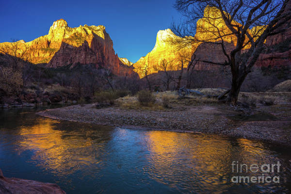 Wall Art - Photograph - Zion The Patriarchs Golden Light Reflected by Mike Reid