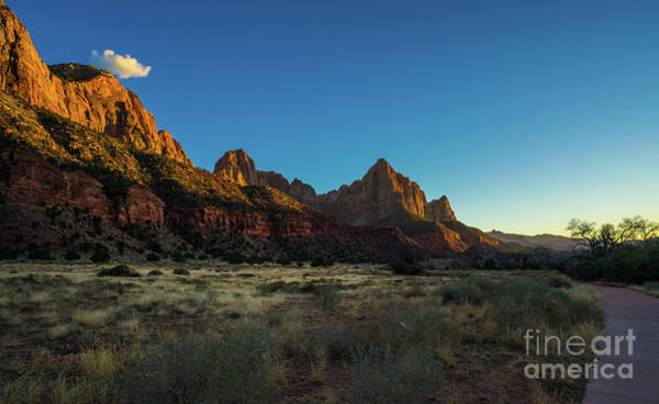 Wall Art - Photograph - Zion The Watchman And Bridge Mountain Dusk by Mike Reid