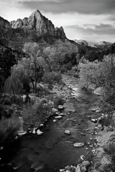 Photograph - Zion Watchman Tower Black And White by Dave Dilli
