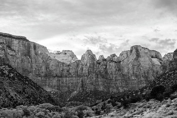 Desert View Tower Photograph - Zion's Towers Of The Virgin Black And White by Stephanie McDowell