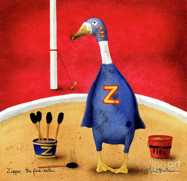 Painting - Zippo, The Fire-eater by Will Bullas