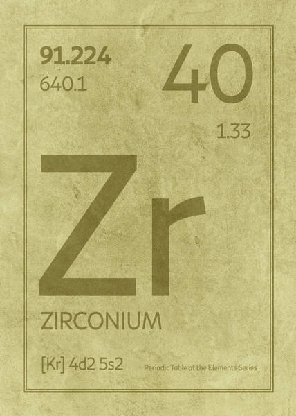 Elements Mixed Media - Zirconium Element Symbol Periodic Table Series 040 by Design Turnpike
