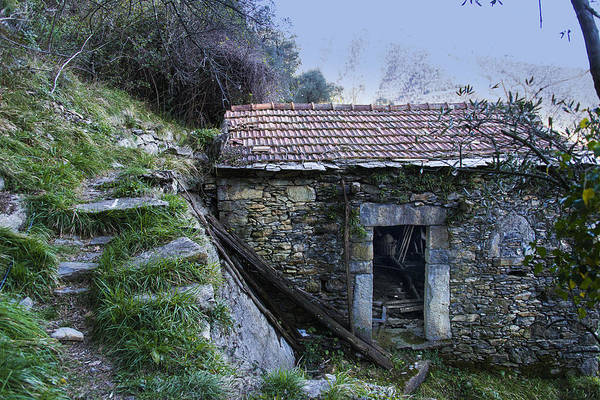 Photograph - Zoagli Ancient Stones House With Stairs In The Wood by Enrico Pelos