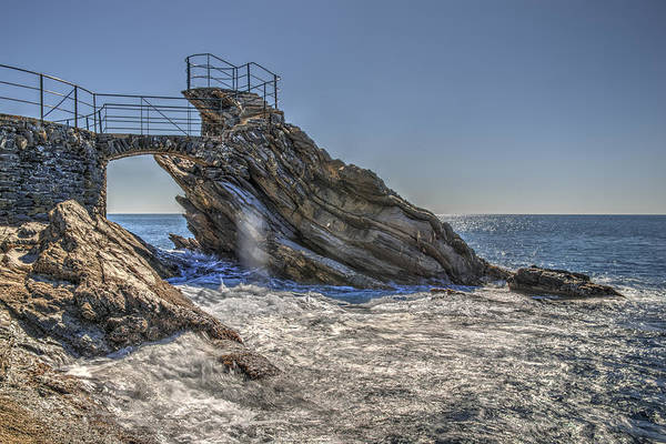 Photograph - Zoagli Cliffs With Waves And Passage by Enrico Pelos