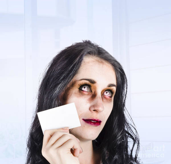 Brand Photograph - Zombie Business Person Thinking With Business Card by Jorgo Photography - Wall Art Gallery