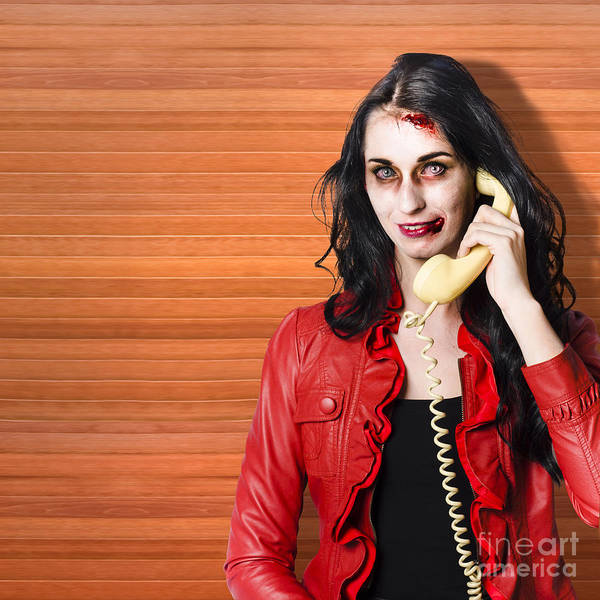 Photograph - Zombie Call Centre Worker Cold Calling On Phone by Jorgo Photography - Wall Art Gallery