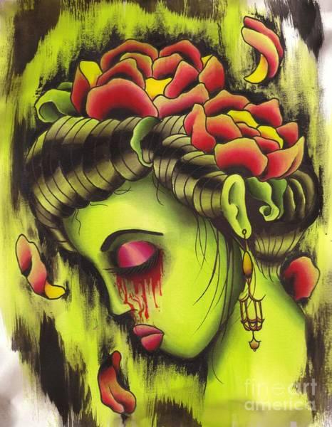 Tattoo Flash Painting - Zombie Girl No2 by Lauren B
