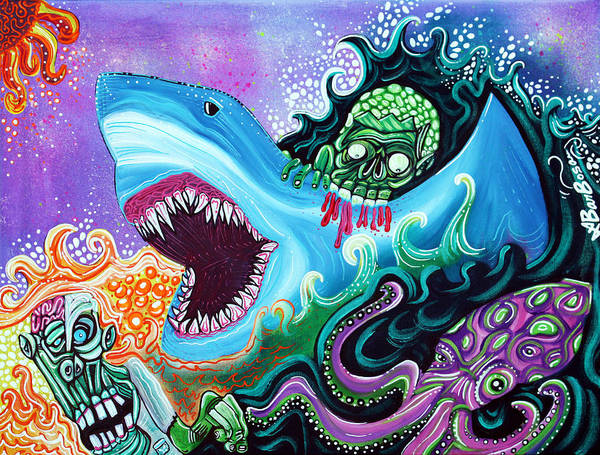 Wall Art - Painting - Zombie Handfishin by Laura Barbosa