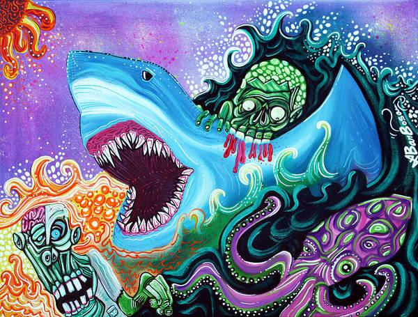 Wall Art - Painting - Zombie Handfishin by Laura Barbosa