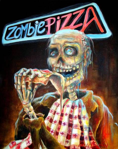 Neon Sign Painting - Zombie Pizza by Heather Calderon