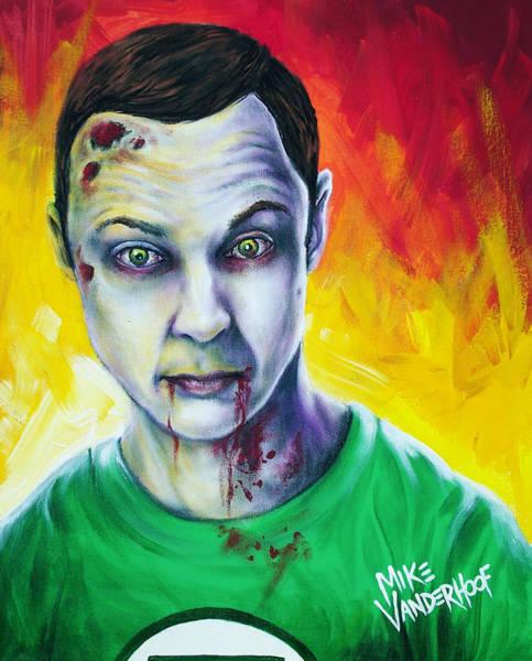 Tattoo Flash Painting - Zombie Sheldon Cooper by Michael Vanderhoof