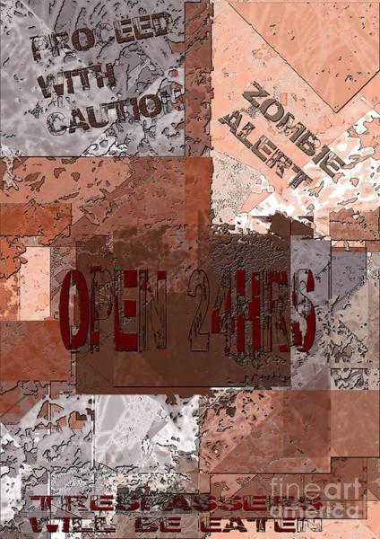 Digital Art - Zombie Warning by Lance Sheridan-Peel