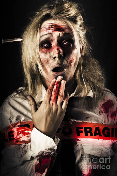 Morgue Photograph - Zombie Woman Expressing Fear And Shock When Waking by Jorgo Photography - Wall Art Gallery