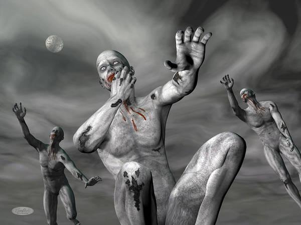 Ghoul Digital Art - Zombies By Night - 3d Render by Elenarts - Elena Duvernay Digital Art