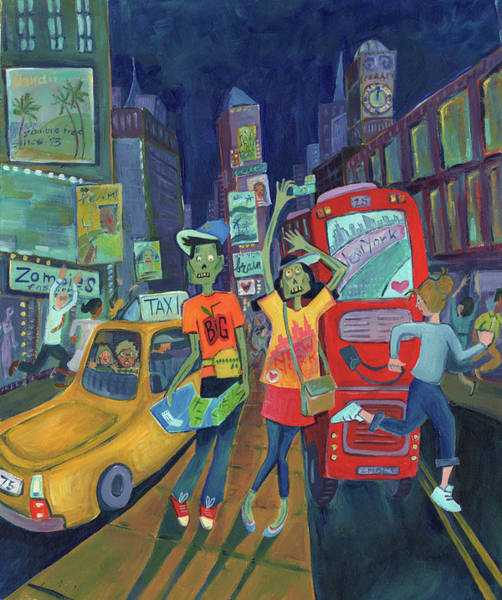 Wall Art - Painting - Zombies In New York by Kristy Lankford