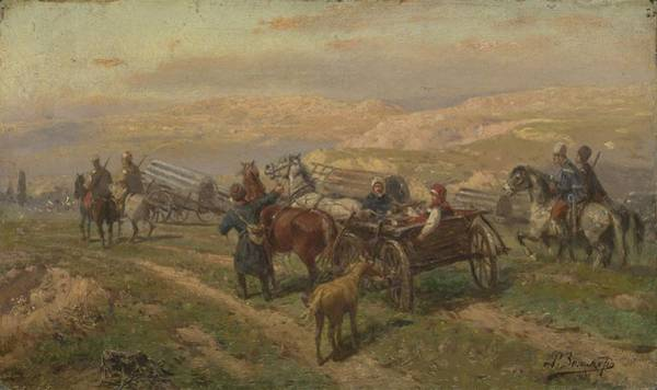 Painting - Zommer, Richard 1866 1939  Cossak Convoy by Artistic Panda