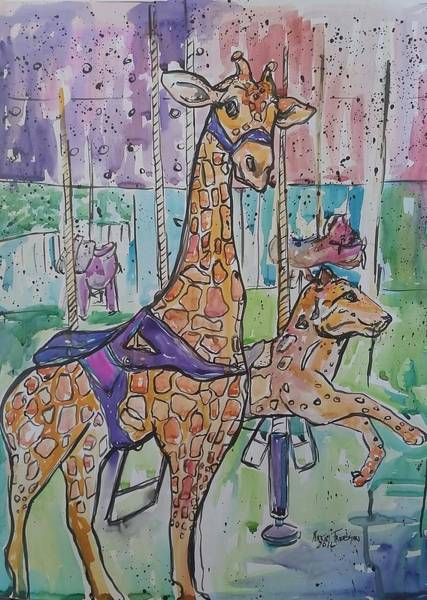 Wall Art - Mixed Media - Zoo Atlanta Carousel  by Arrin Burgand