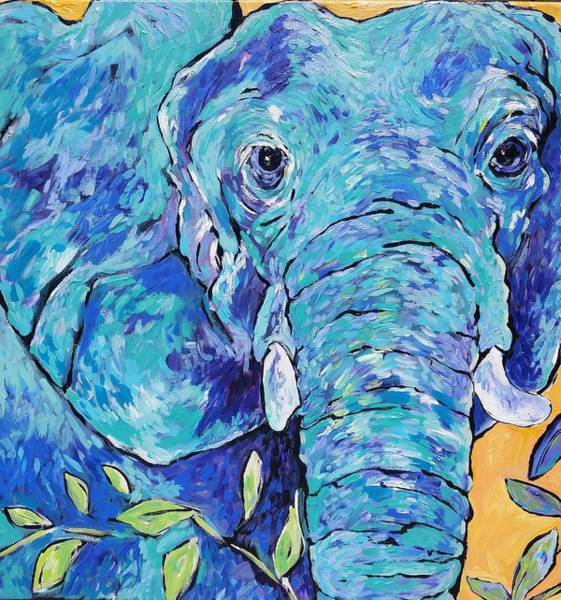 Wall Art - Painting - Zoo Elephant  by Arrin Burgand
