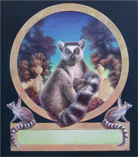 Painting - Zoofari Poster The Lemur by Hans Droog