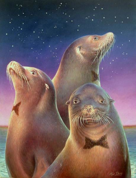 Painting - Zoofari Poster The Sea Lion by Hans Droog
