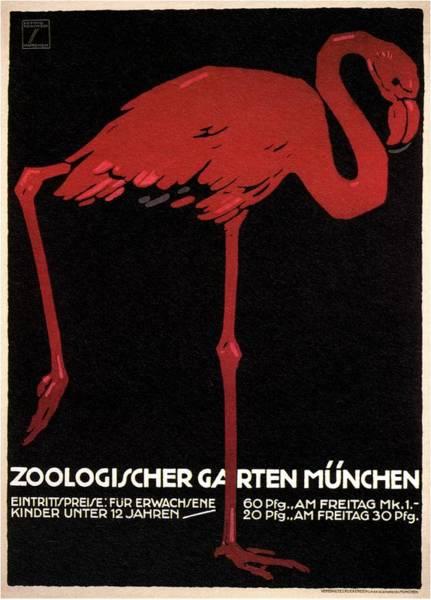 Bauhaus Mixed Media - Zoologischer Garten Munchen, Germany - Retro Travel Poster - Vintage Poster by Studio Grafiikka
