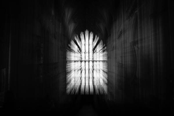 Photograph - Zoom Burst Of Stained Glass Window In English Cathedral by Jacek Wojnarowski