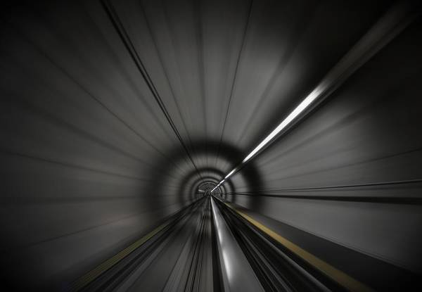 Zooming Along In The Tunnel Of Hope Art Print