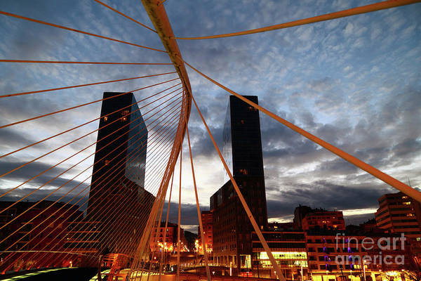 Photograph - Zubizuri Bridge And Isozaki Towers Bilbao Spain by James Brunker