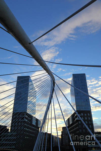 Photograph - Zubizuri Bridge And Isozaki Twin Towers Bilbao by James Brunker