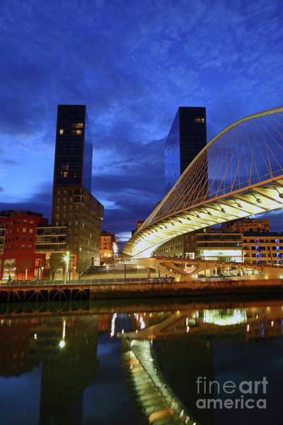 Photograph - Zubizuri Or Campo Volantin Bridge At Blue Hour Bilbao by James Brunker